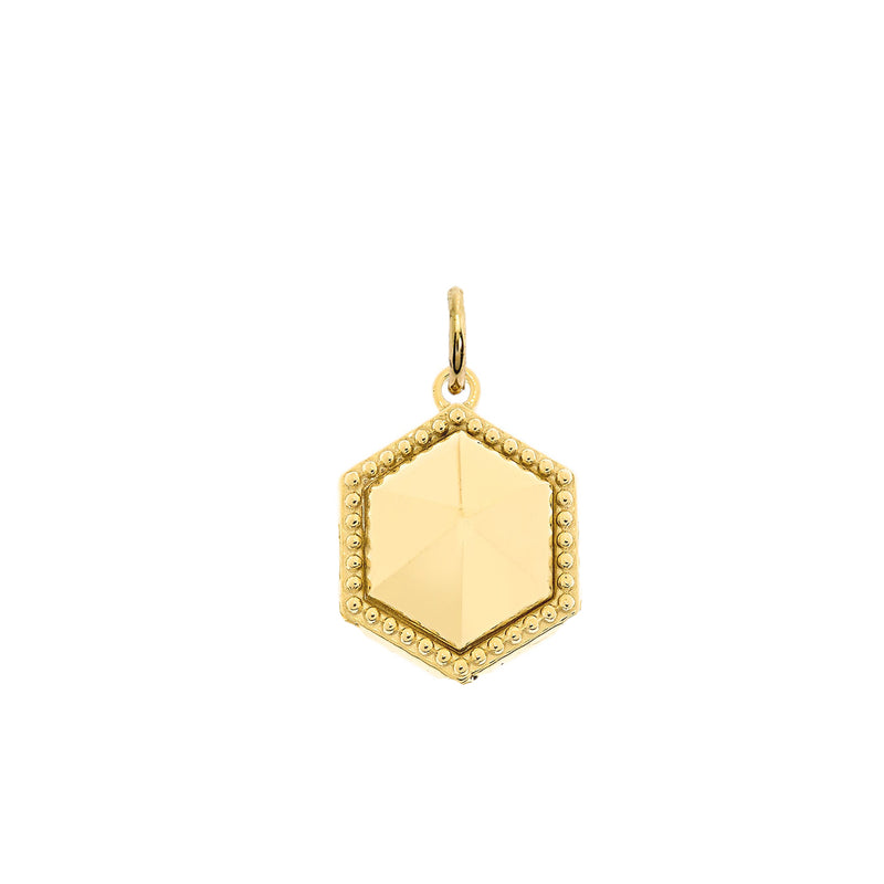 Milgrain Honeycomb Shaped Statement Pendant Necklace In Solid Gold