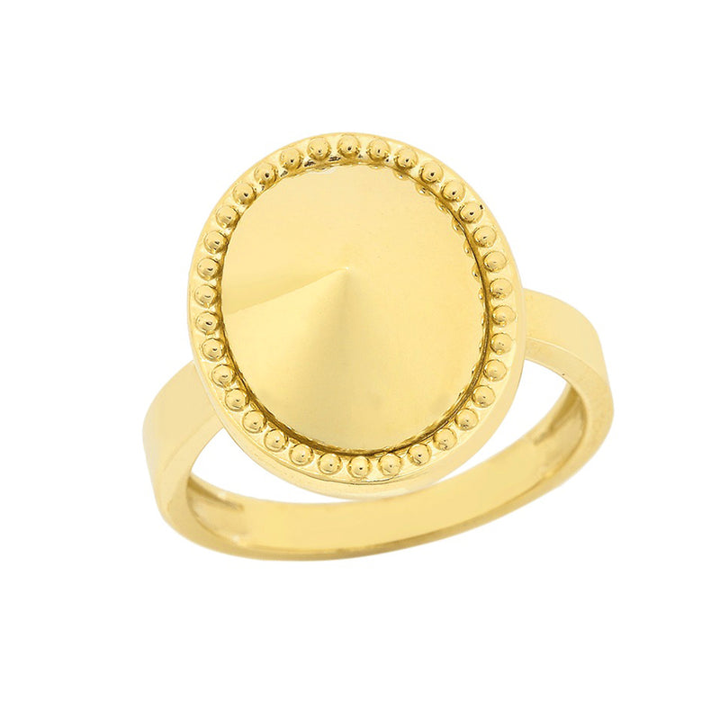 Milgrain Oval Shaped Statement Ring In Solid Yellow Gold