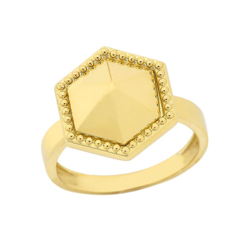 Milgrain Honeycomb Shaped Statement Ring In Solid Yellow Gold