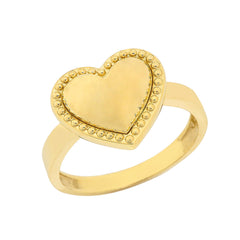 Milgrain Heart Shaped Statement Ring In Solid Yellow Gold