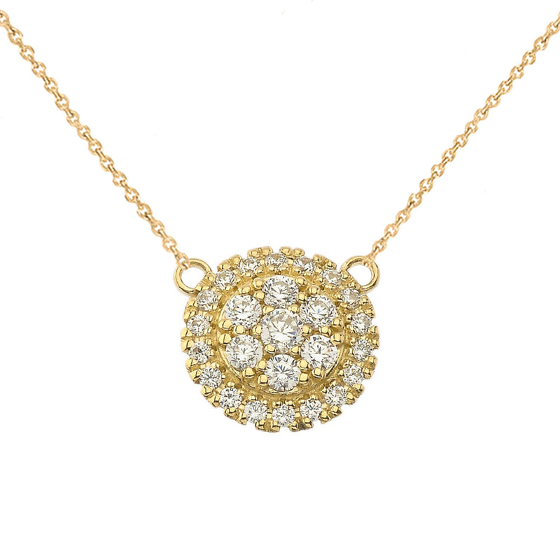 Round Diamond Cluster Necklace In Gold