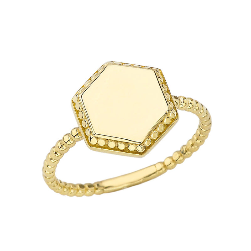 Honeycomb Signet Statement Rope Ring In Solid Gold