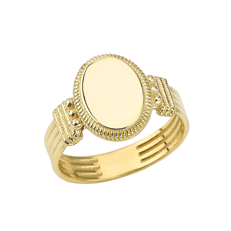 Timline Signet Ring  Solid Gold