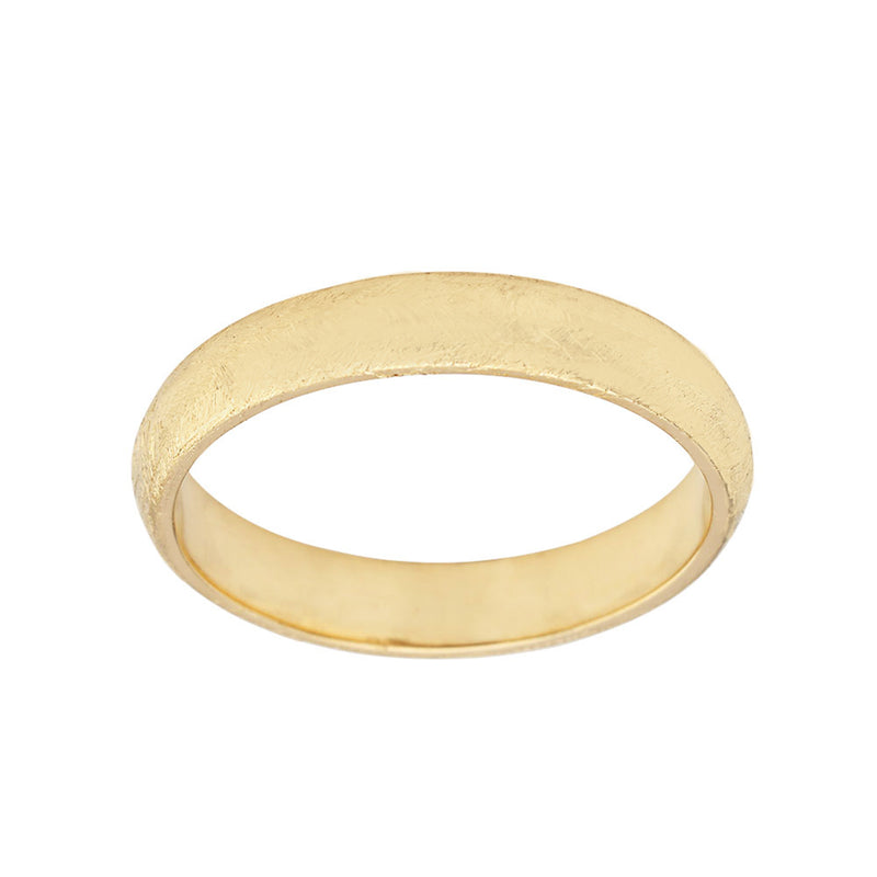 Solid Yellow Gold Satin Finish Gold Band Comfort Fit Ring