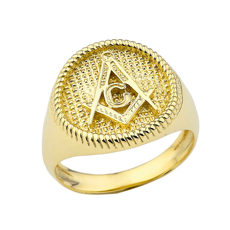 Solid Gold Square  And Compass Masonic Men's Ring