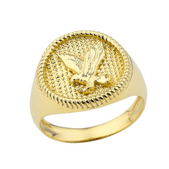 Milgrain Golden American Eagle Ring in Solid Yellow Gold