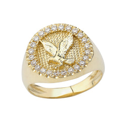 Golden American Eagle Ring Embedded with Round White Diamond's