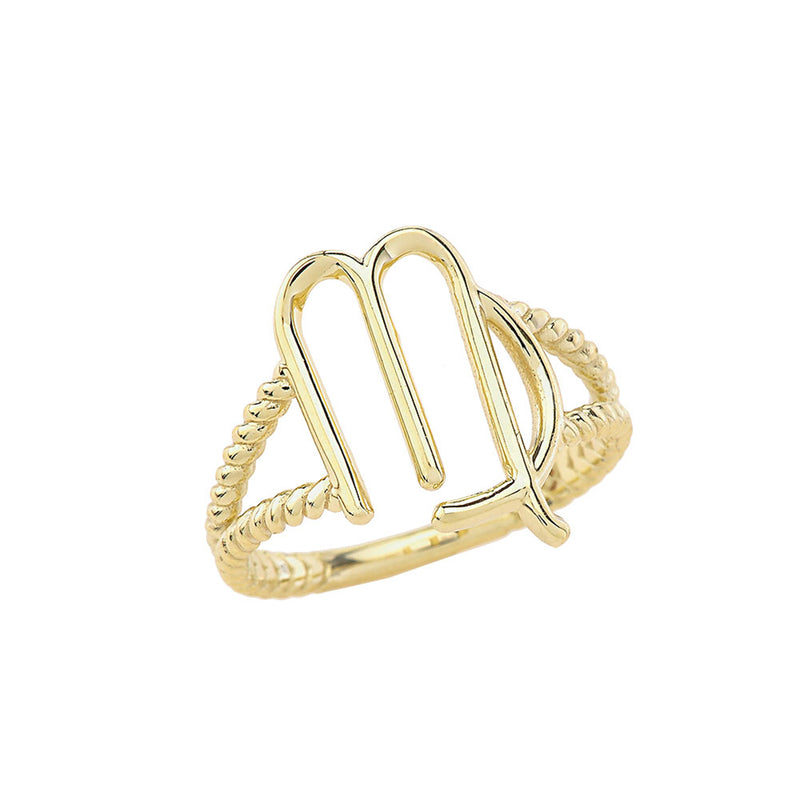 Zodiac - Virgo Rope Ring In Solid Yellow Gold