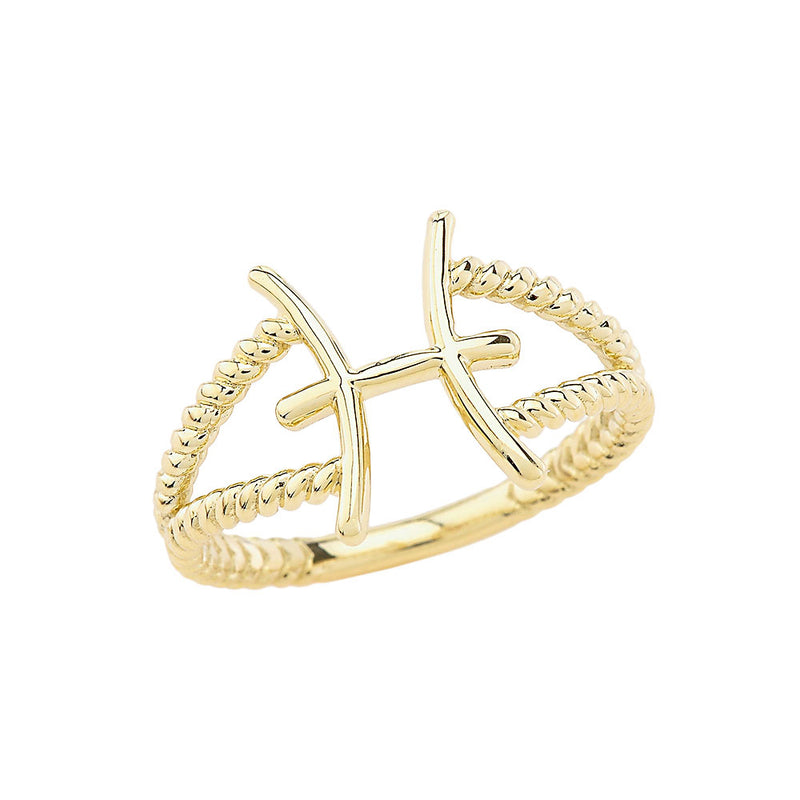 Pisces Zodiac Rope Ring in Solid Yellow Gold
