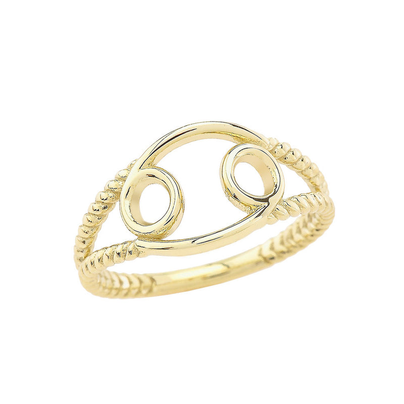 Zodiac - Cancer Rope Ring in Solid Yellow Gold