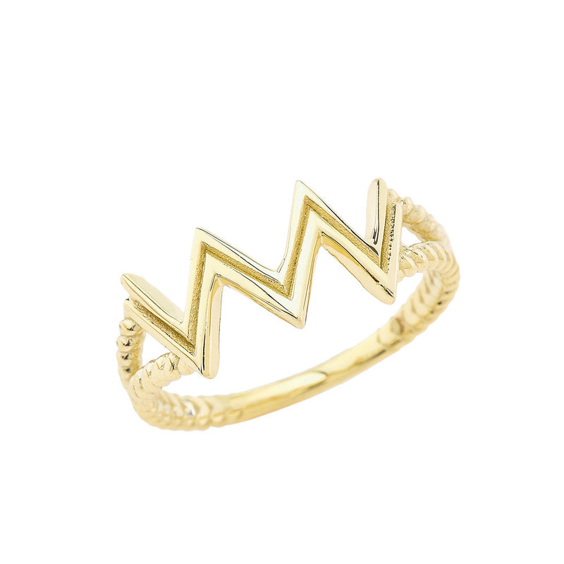Aquarius Zodiac Rope Ring in Solid Yellow Gold