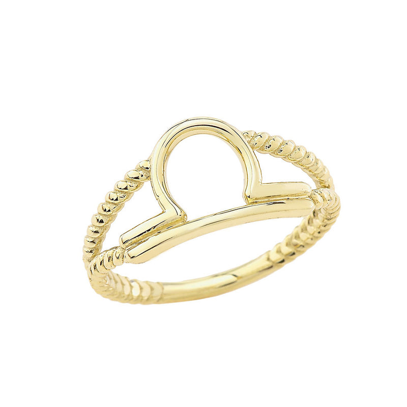 Libra Zodiac Rope Ring in Solid Yellow Gold