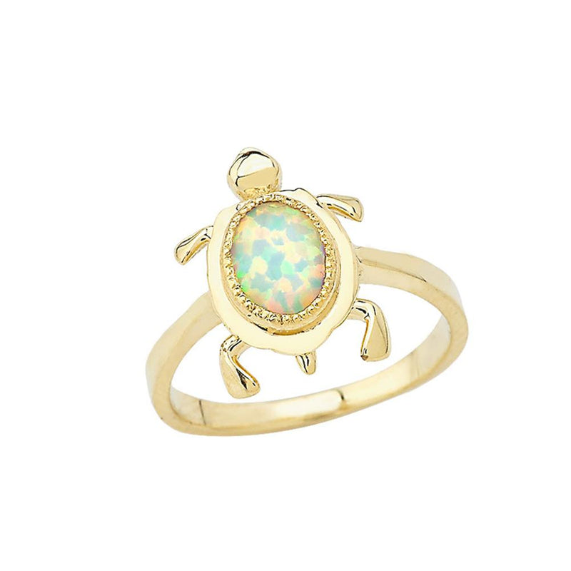 Opal Turtle Ring in Solid Yellow Gold