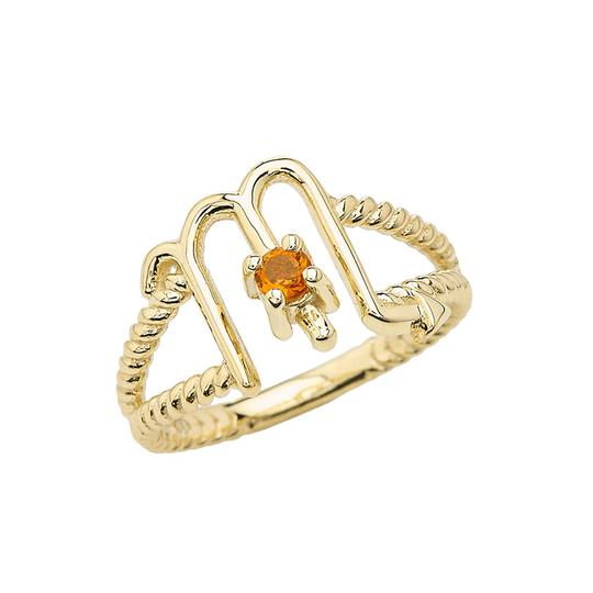Scorpio Zodiac & Citrine Gemstone Rope Ring in Solid Gold