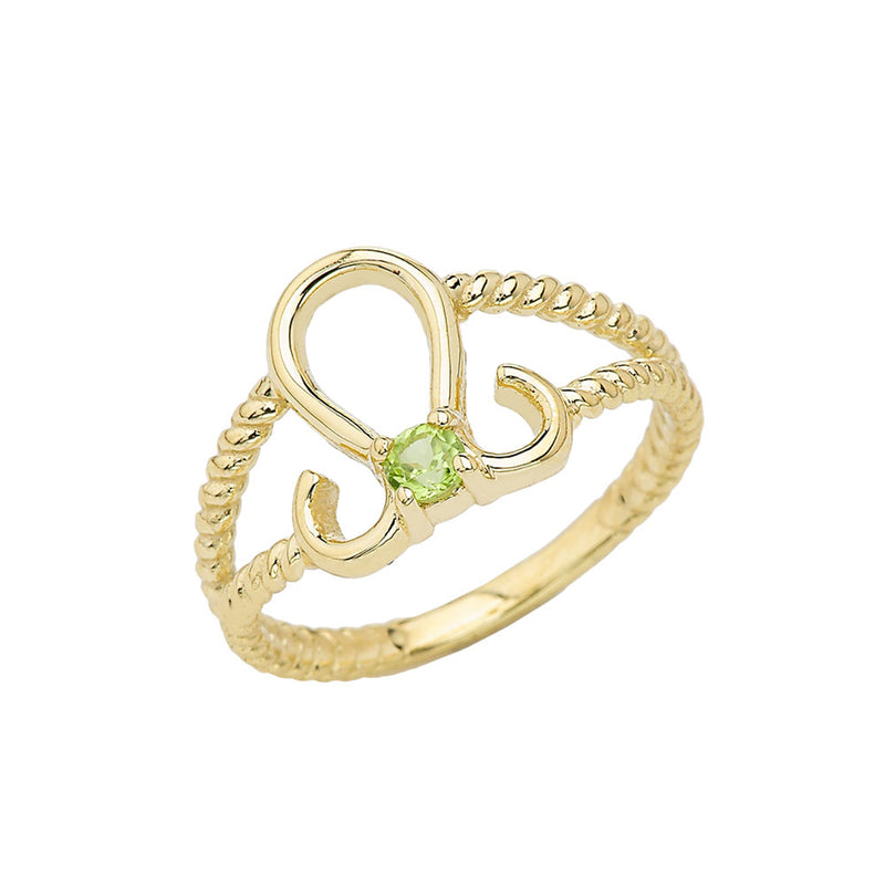 Genuine Peridot Leo Zodiac Rope Ring In Solid Yellow Gold