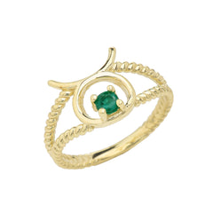 Taurus Zodiac & Emerald Gemstone Rope Ring in Solid Yellow Gold