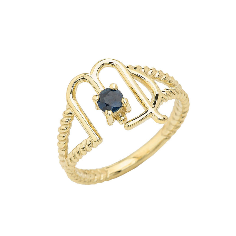 Virgo Zodiac & Sapphire Gemstone Rope Ring in Solid Gold