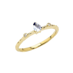 Dainty Pear Shape Aquamarine & Diamonds Stackable Ring In Solid Yellow Gold