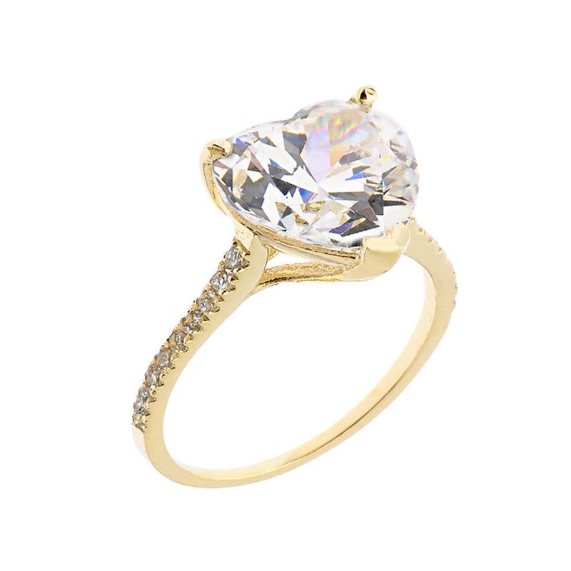 Heart Shape Stone With One Raw Diamond Ring In Gold