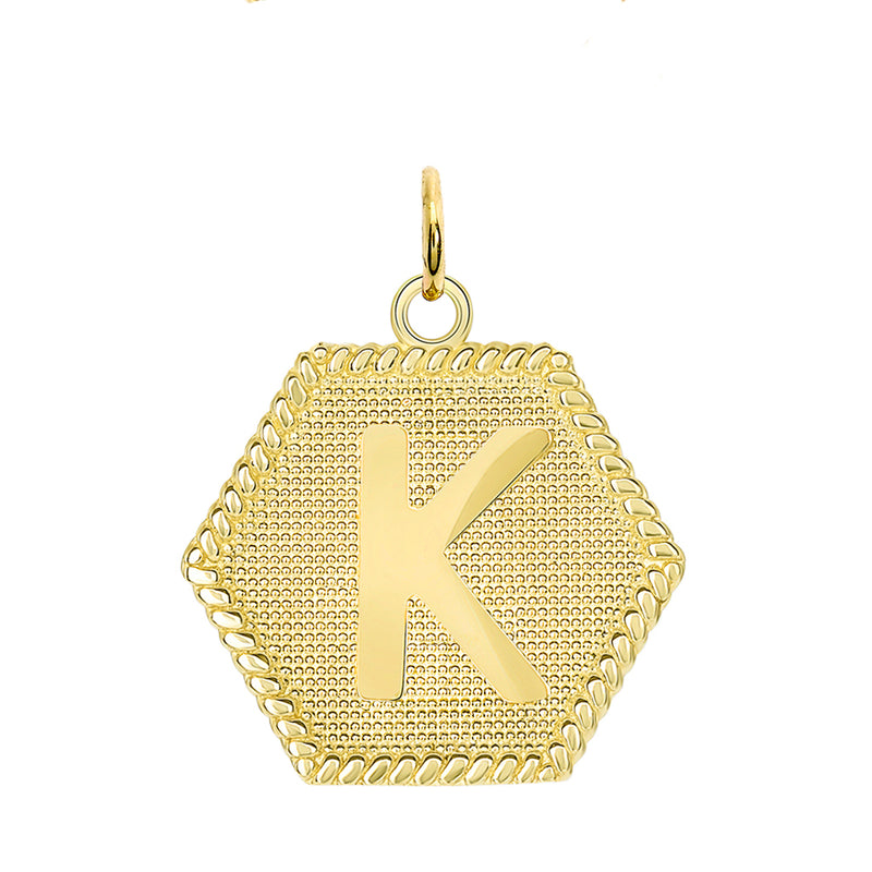 "Initial ""K"" Gold Medallion Pendant Necklace"