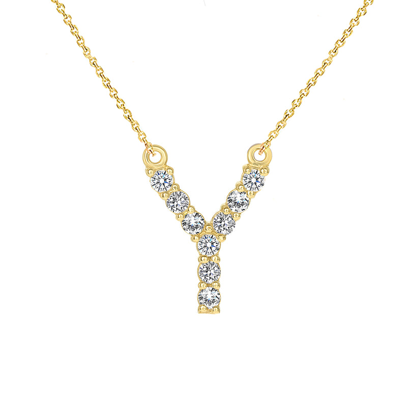 "Initial ""Y"" Diamond Letter Necklace in Solid Gold"