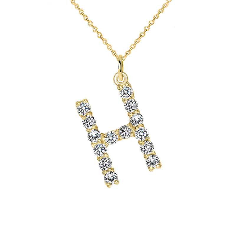 "Initial ""H"" CZ Letter Pendant/Necklace in Solid Gold"