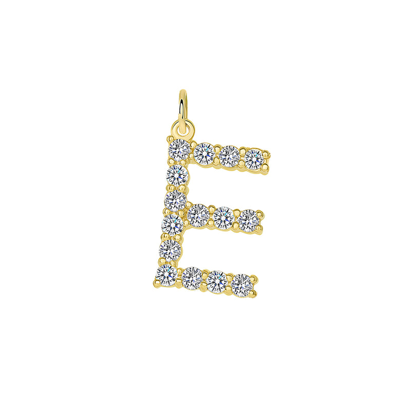"Initial ""E"" Diamond Letter Pendant/Necklace in Solid Gold"