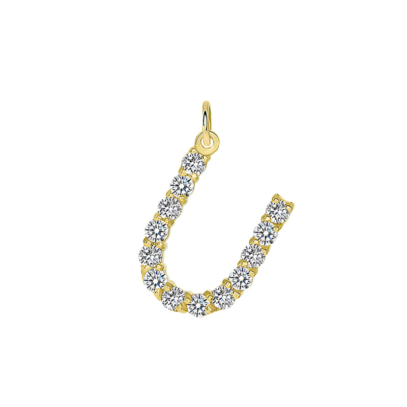 "Initial ""U"" Diamond Letter Pendant/Necklace in Solid Gold"