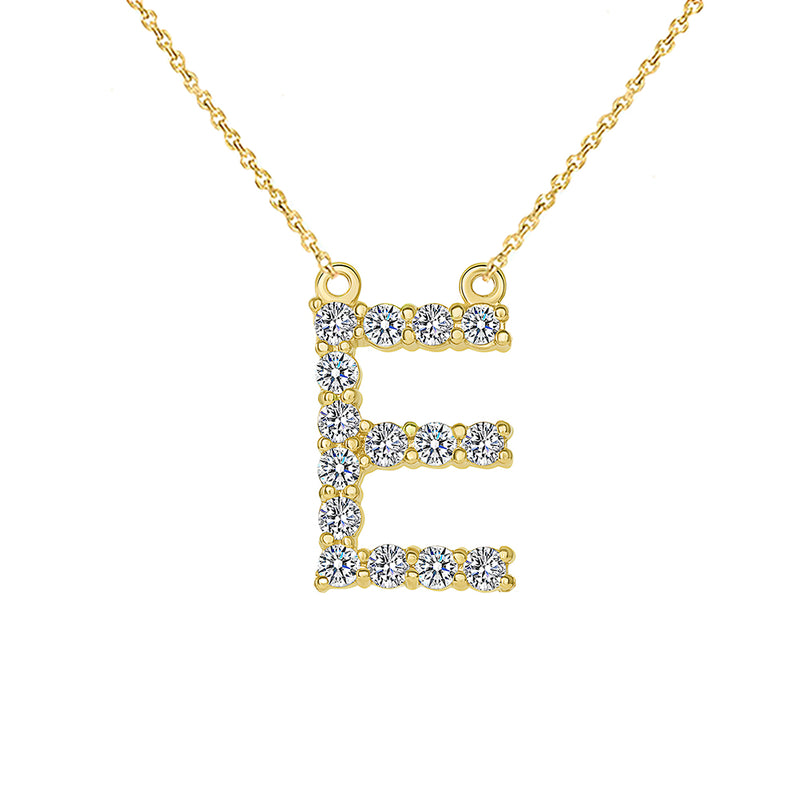 "Initial ""E"" CZ Letter Necklace in Solid Gold"