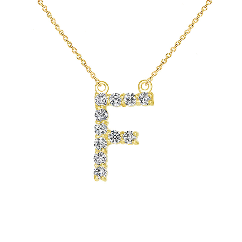 "Initial ""F"" CZ Letter Necklace in Solid Gold"