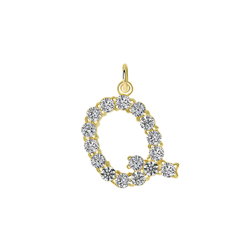 "Initial ""Q"" Diamond Letter Pendant/Necklace in Solid Gold"
