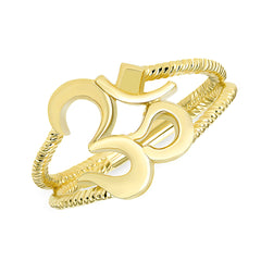 Solid Gold Ohm Ring with Double Rope Band