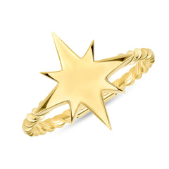 North Star Statement Rope Ring In Solid Yellow Gold