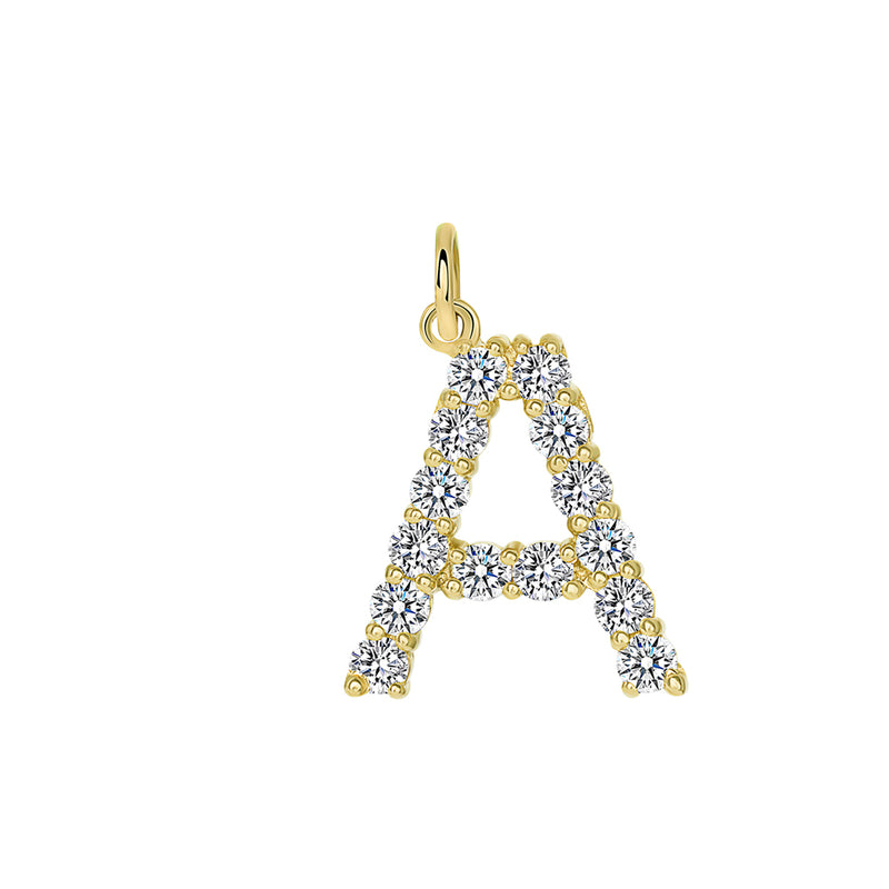 "Initial ""A"" CZ Letter Pendant/Necklace in Solid Gold"