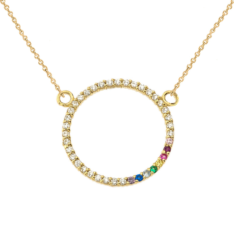 Diamond and Rainbow Circle of Life Pride Necklace in Solid Gold(Yellow, Rose & White)