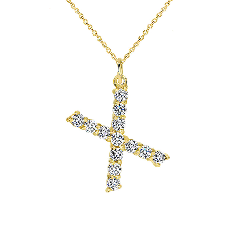 "Initial ""X"" CZ Letter Pendant/Necklace in Solid Gold"