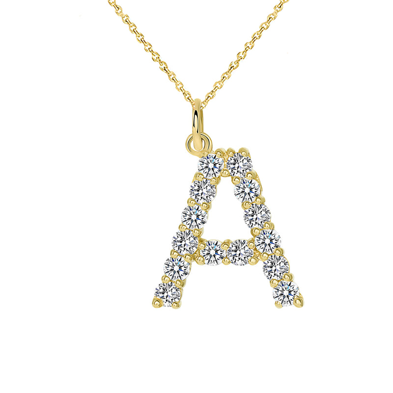 "Initial ""A"" Diamond Letter Necklace in Solid Gold"