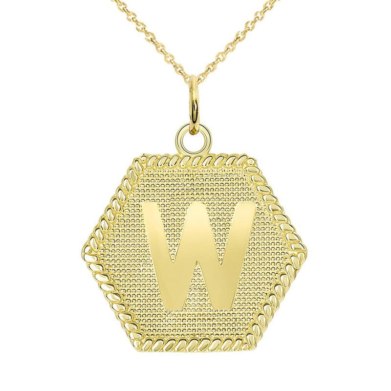 "Initial ""W "" Gold Medallion Pendant Necklace"