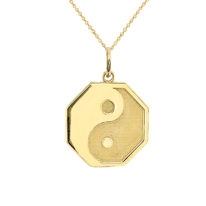 Yin and Yang Symbol Charm Pendant Necklace in Solid Gold
