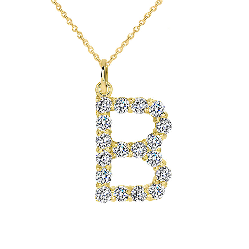 "Initial ""B"" CZ Letter Pendant/Necklace in Solid Gold"