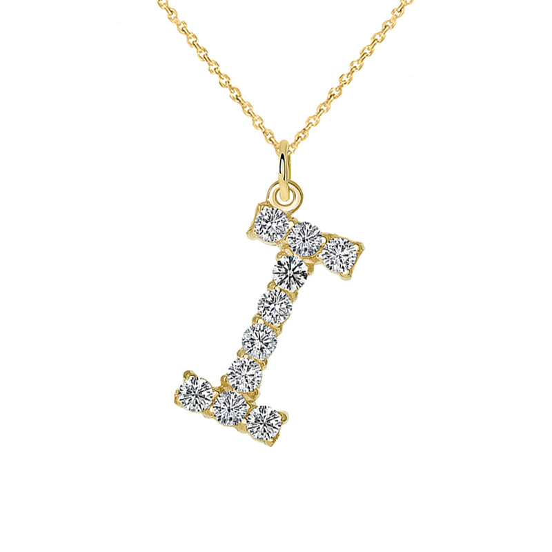 "Initial ""I"" CZ Letter Pendant/Necklace in Solid Gold"