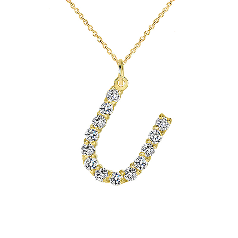 "Initial ""U"" CZ Letter Pendant/Necklace in Solid Gold"