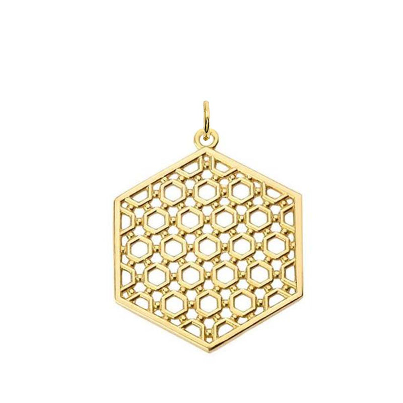 Honeycomb Statement Pendant Necklace in Gold