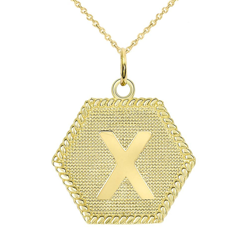 "Initial ""X "" Gold Medallion Pendant Necklace"