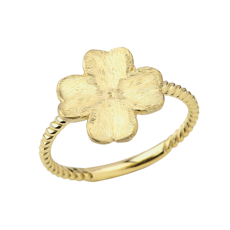 Four-Leaf Clover Rope Ring in Solid Yellow Gold
