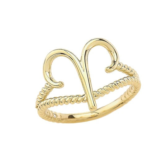 Aries Zodiac Rope Ring in Solid Gold