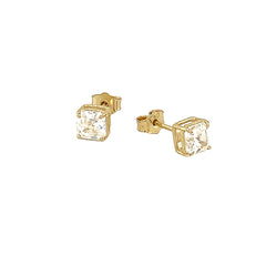 Solitaire Asscher-Cut CZ Stud Earrings in Solid Gold(Small Size)