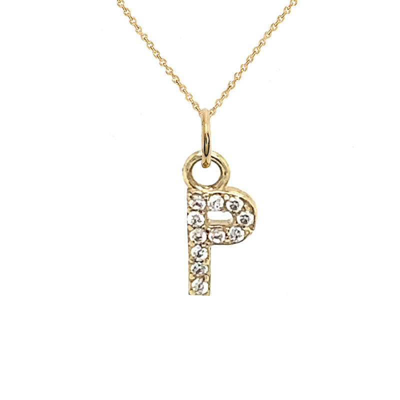 "Customizable Diamond Initial ""P"" Pendant Necklace in Solid Gold"