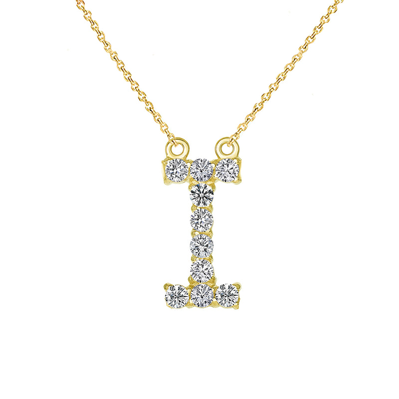 "Initial ""I"" CZ Letter Necklace in Solid Gold"