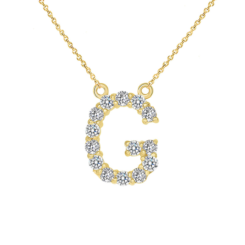 "Initial ""G"" CZ Letter Necklace in Solid Gold"